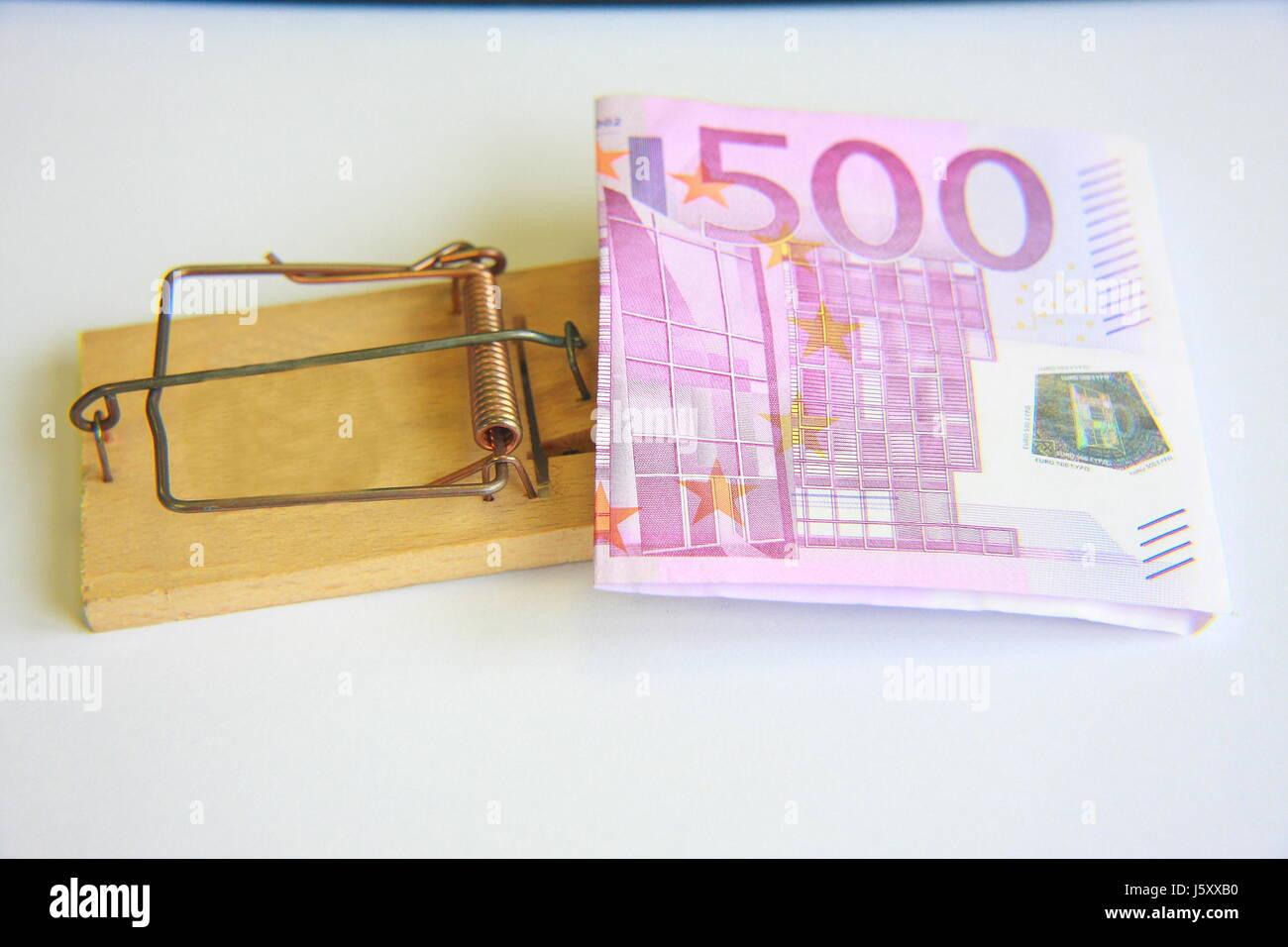 mousetrap money open Stock Photo