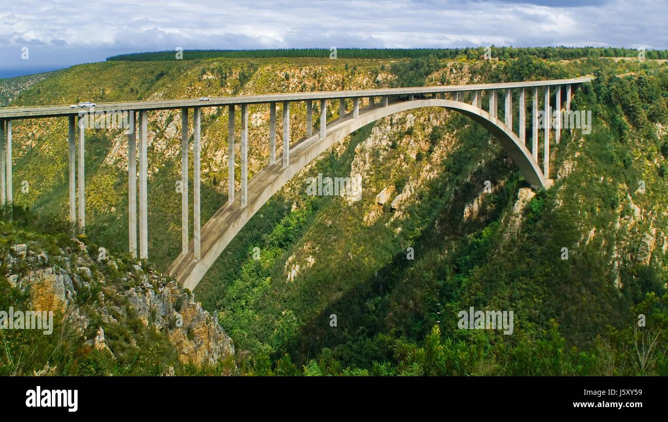 bridge valley ravine south africa arched bridge street road big large enormous Stock Photo