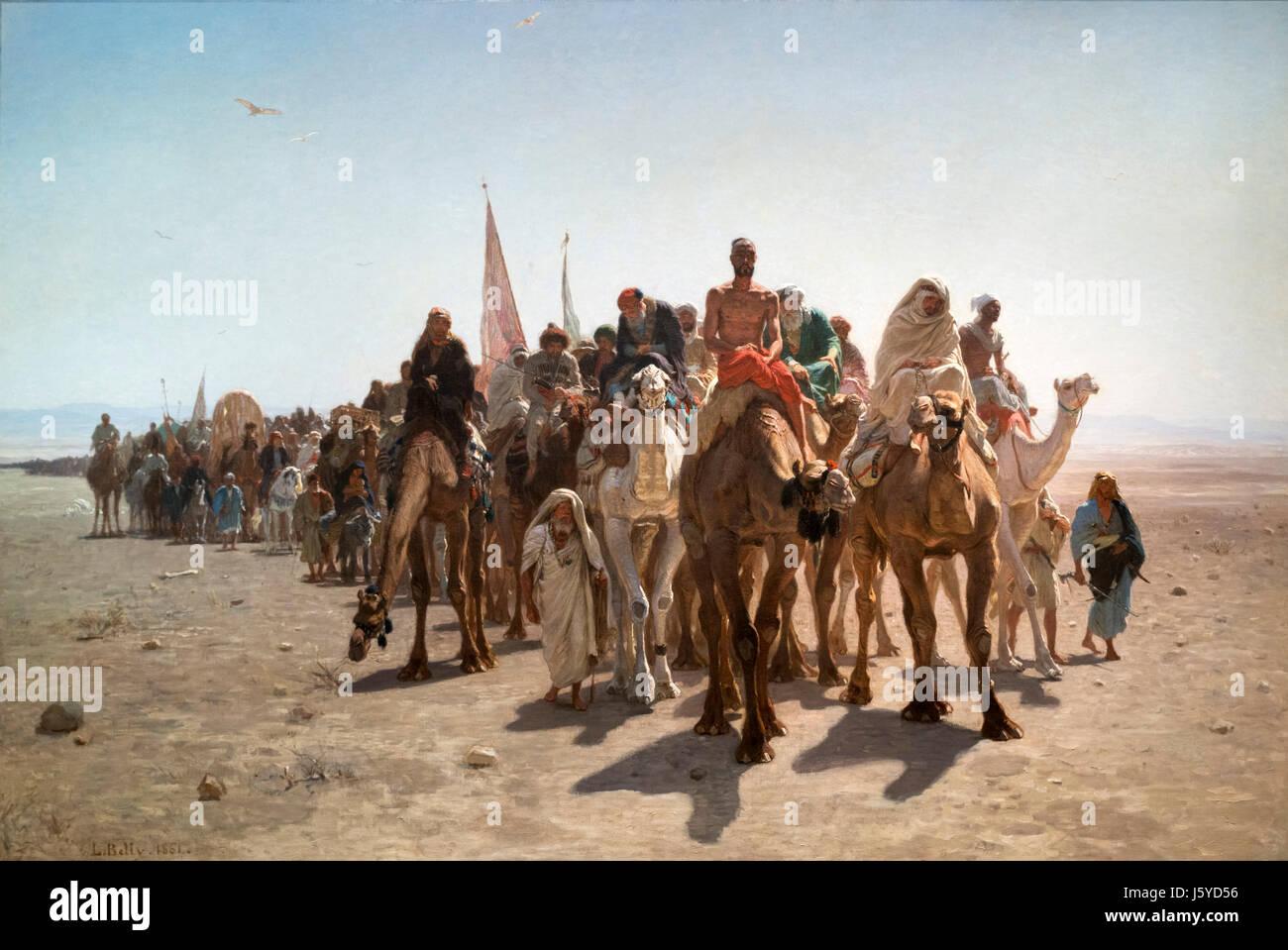 Pélerins allant à la Mecque (Pilgrims going to Mecca) by Leon Belly (1827-1877), oil on canvas, 1861 - Stock Image