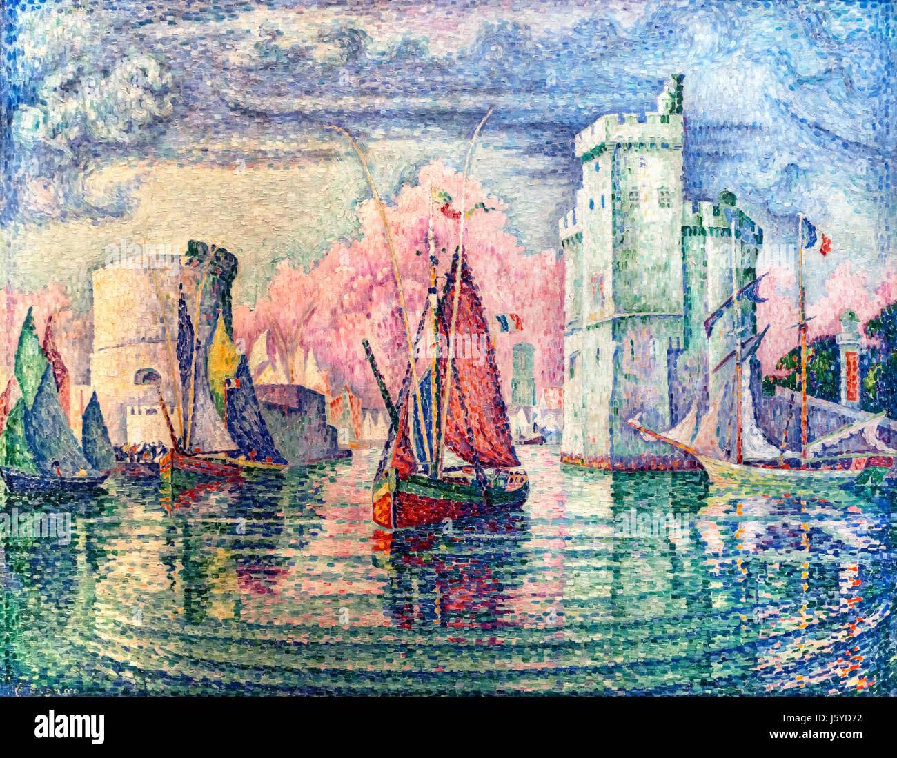 """""""Entree du Port de la Rochelle"""" (Entrance to the Port of La Rochelle) by Paul Signac (1863-1935), oil on canvas, Stock Photo"""