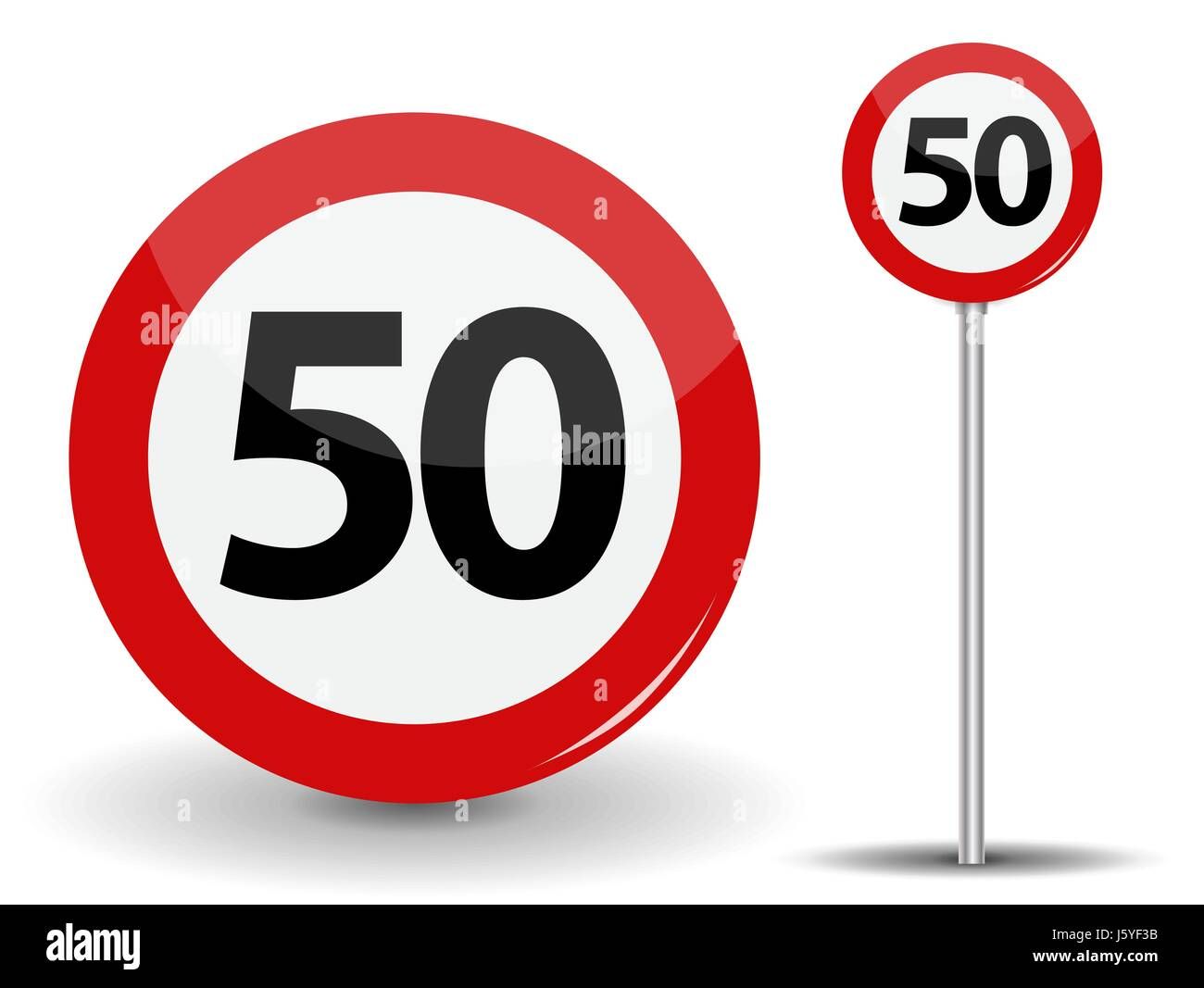 Round Red Road Sign Speed limit 50 kilometers per hour. Vector Illustration. Stock Vector