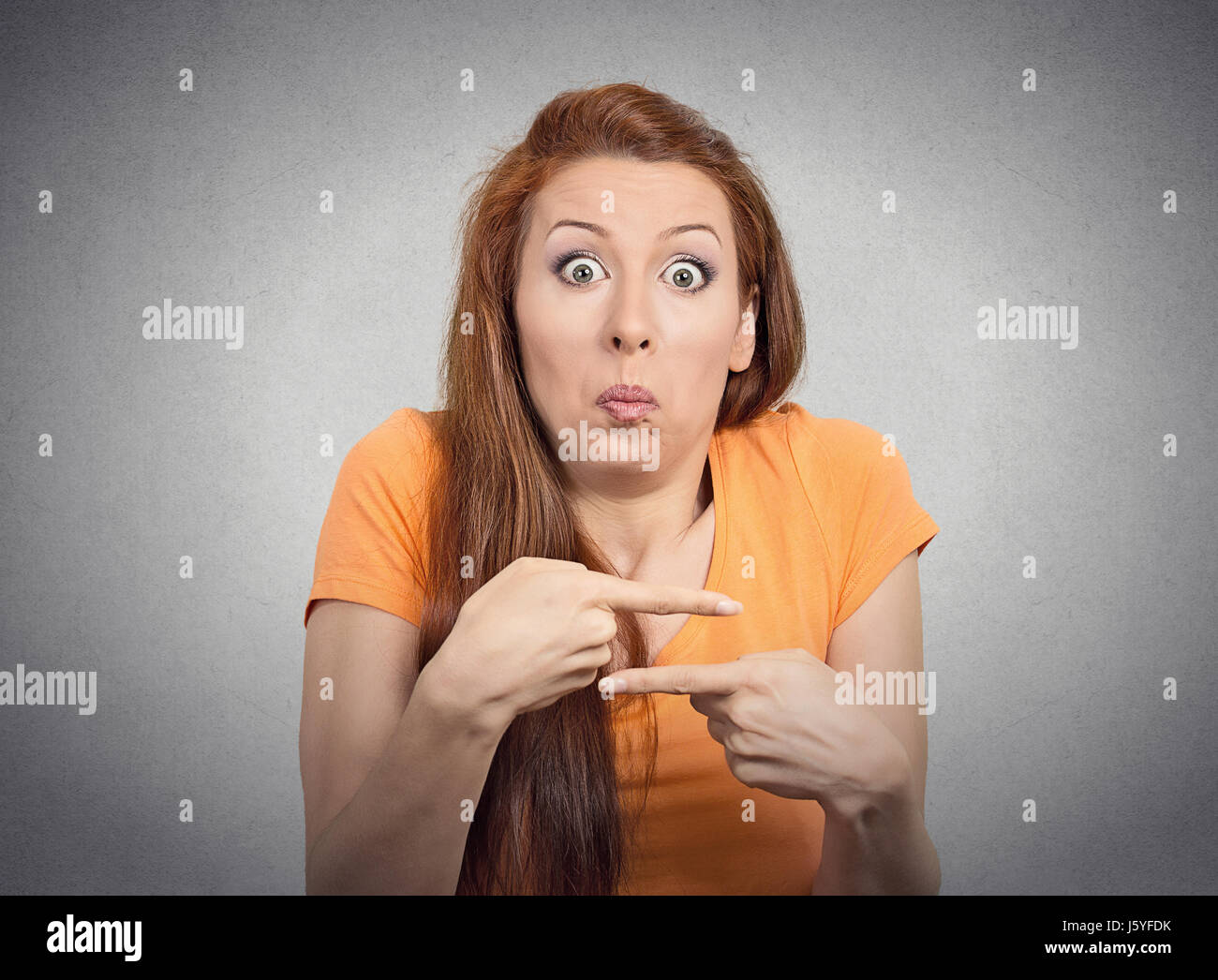 Portrait Confused Young Woman Pointing In Two Different Directions Not Sure Which Way To Go Life Isolated Grey Wall Background Negative Emotion Fa