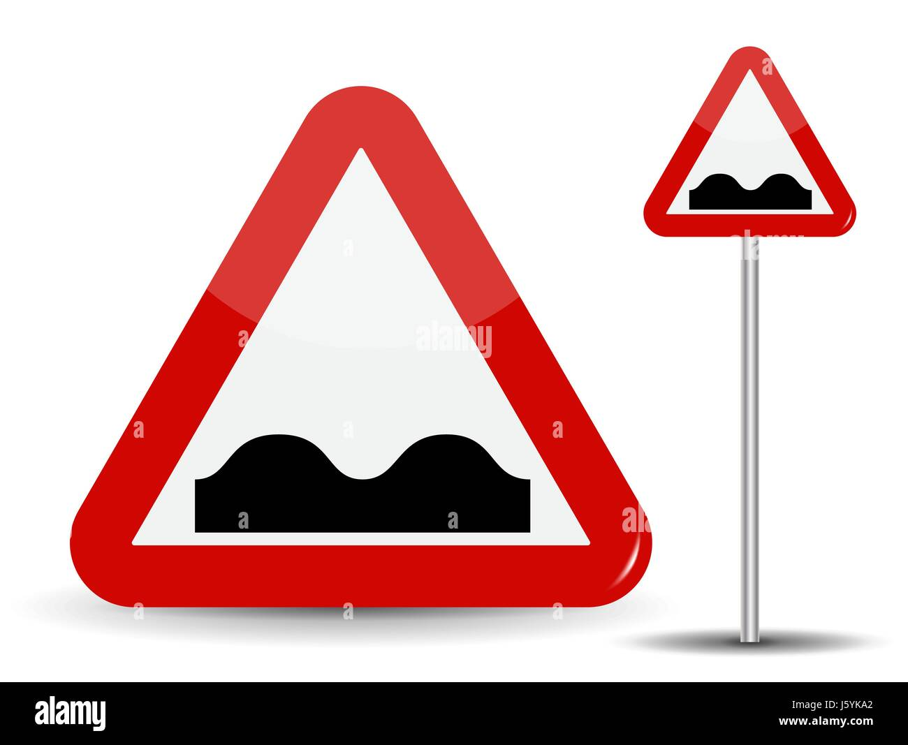 Road sign Warning Uneven road. In Red Triangle image of bad cover with pits. Vector Illustration. - Stock Image