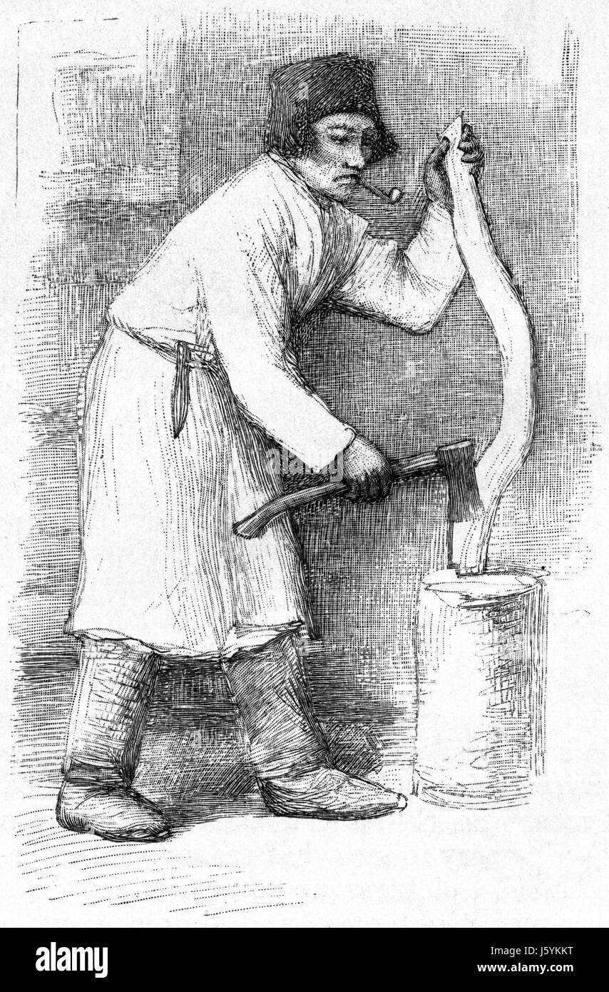 Finnish Peasant, Finland, Harper's New Monthly Magazine, Illustration, January 1891 - Stock Image