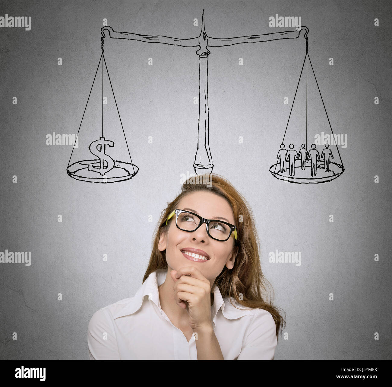 Balance. Life choices, priorities, opportunities, possibilities. Woman, student  thinking, looking for solution - Stock Image
