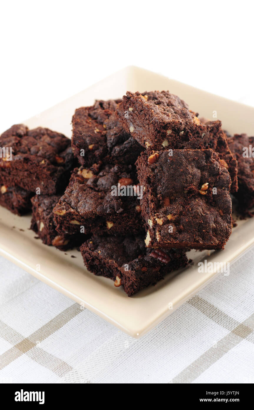sweet cake pie bake dessert chocolate food aliment sweets american brown - Stock Image