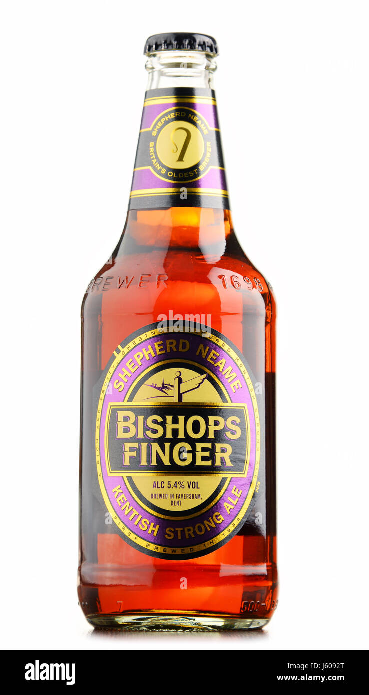 POZNAN, POLAND - AUGUST 12, 2016: Bishop's Finger  is a fine English Ale produced by Shepherd Neame, an independent - Stock Image