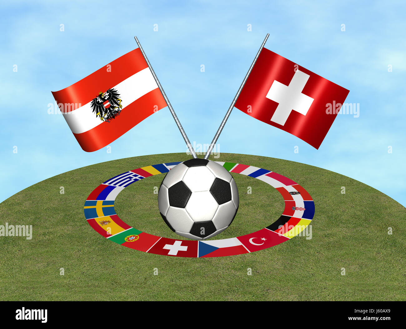 flags championship sport sports soccer football flags championship states Stock Photo