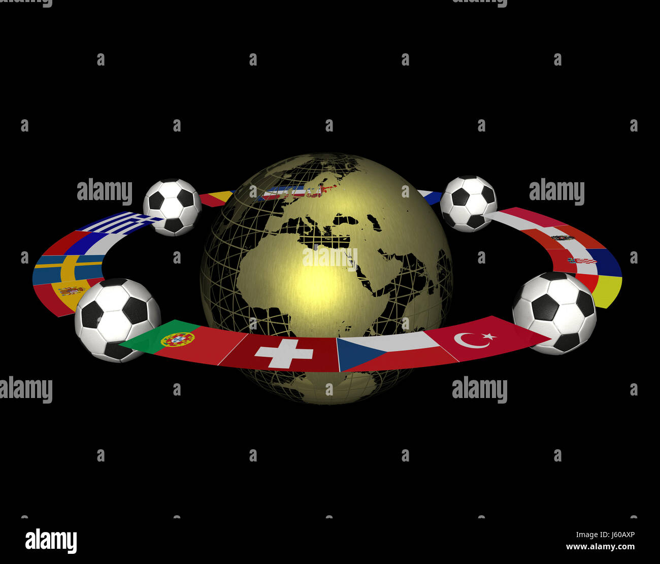 flags championship globe planet earth world sport sports soccer football flags Stock Photo