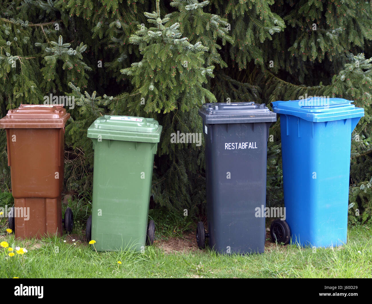trash mull refuse tons garbage collection separate dustbins recycling household Stock Photo