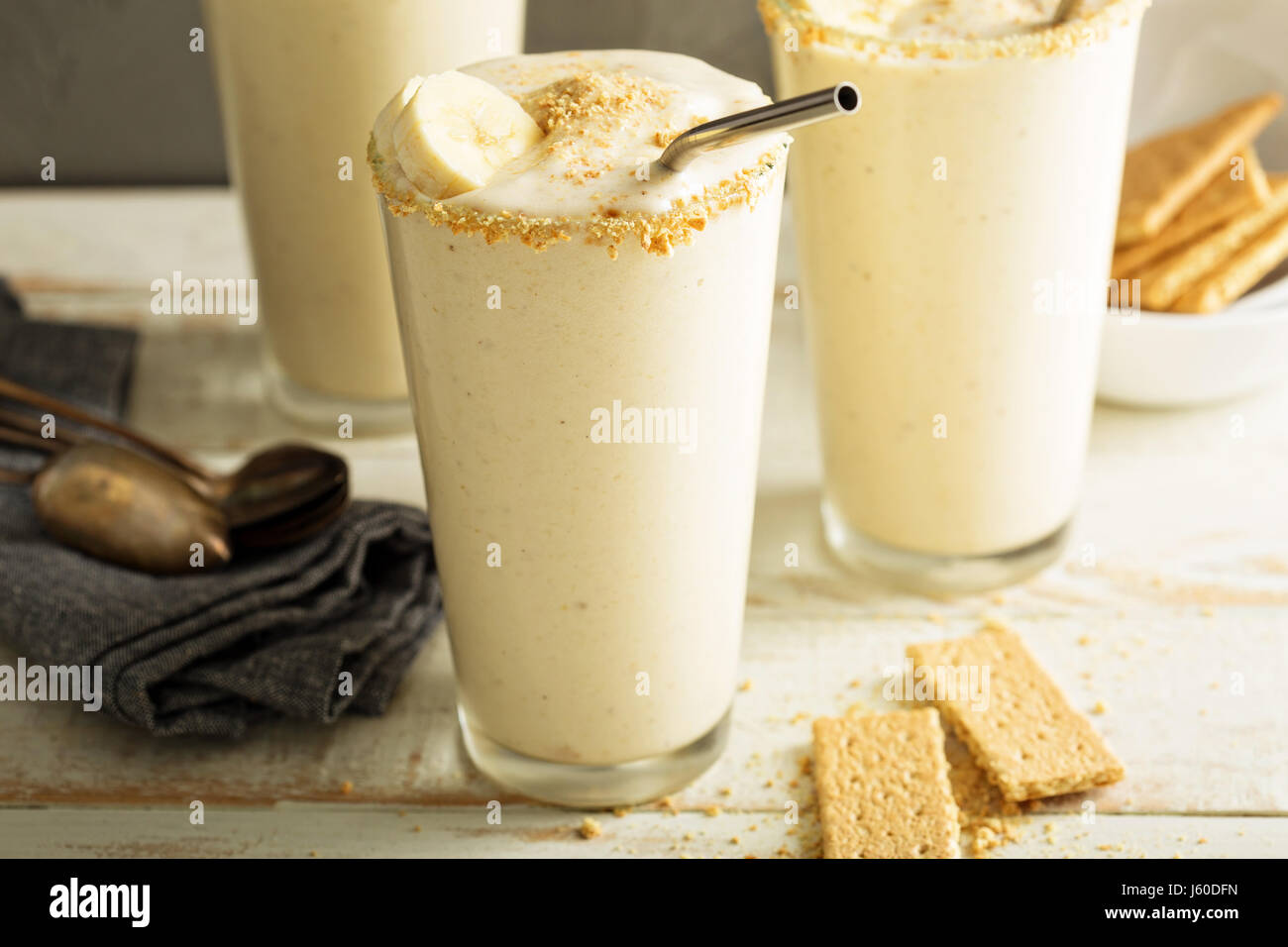 Banana and cookies milkshake - Stock Image