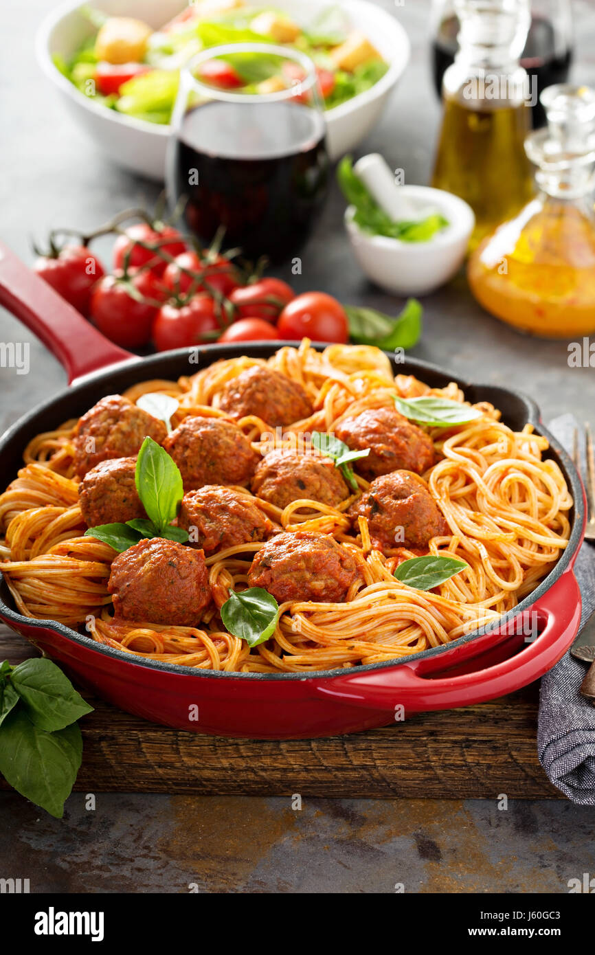 Spaghetti with tomato sauce and meatballs - Stock Image