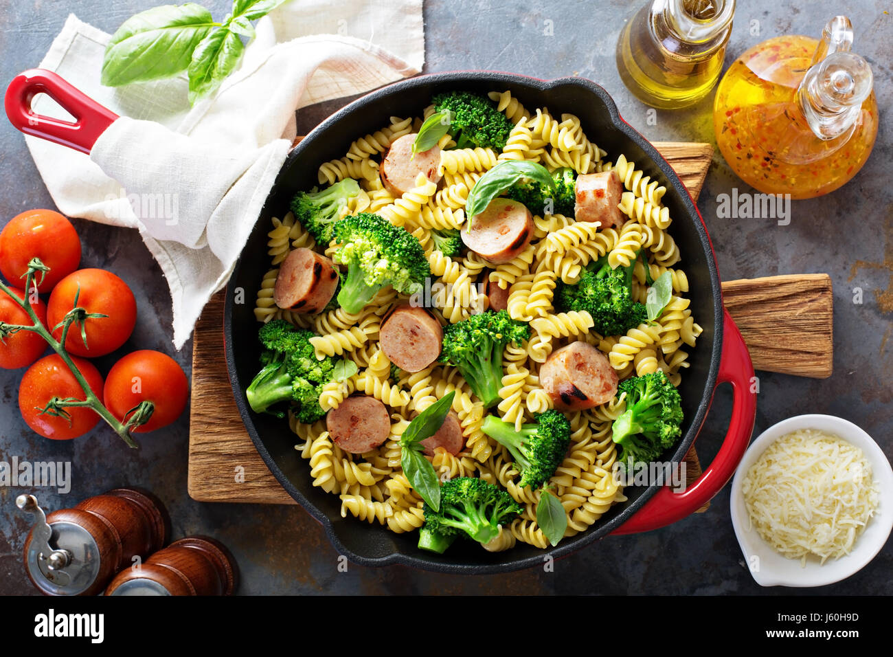 Pasta bake with sausage and broccoli - Stock Image