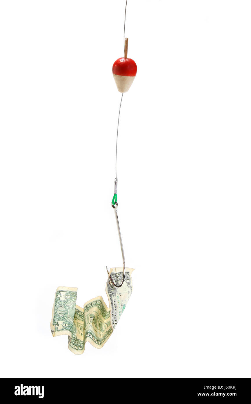 dollar dollars fishing business dealings deal business transaction business - Stock Image