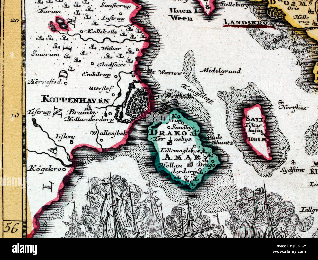 antique card copenhagen fragment coloured atlas map of the world map old hand Stock Photo