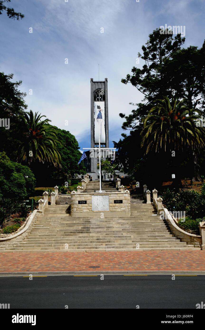 The steps leading up to Christ Church Cathedral in the New Zealand South Island city of Nelson.The tower of the - Stock Image