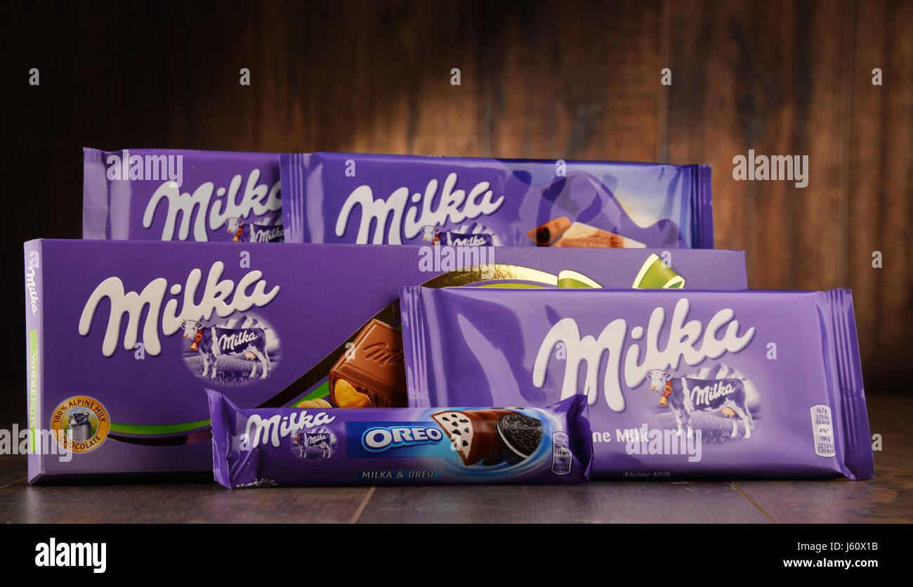 POZNAN, POLAND - OCT 13, 2016: Milka is a brand of chocolate confection which originated in Switzerland in 1825 - Stock Image