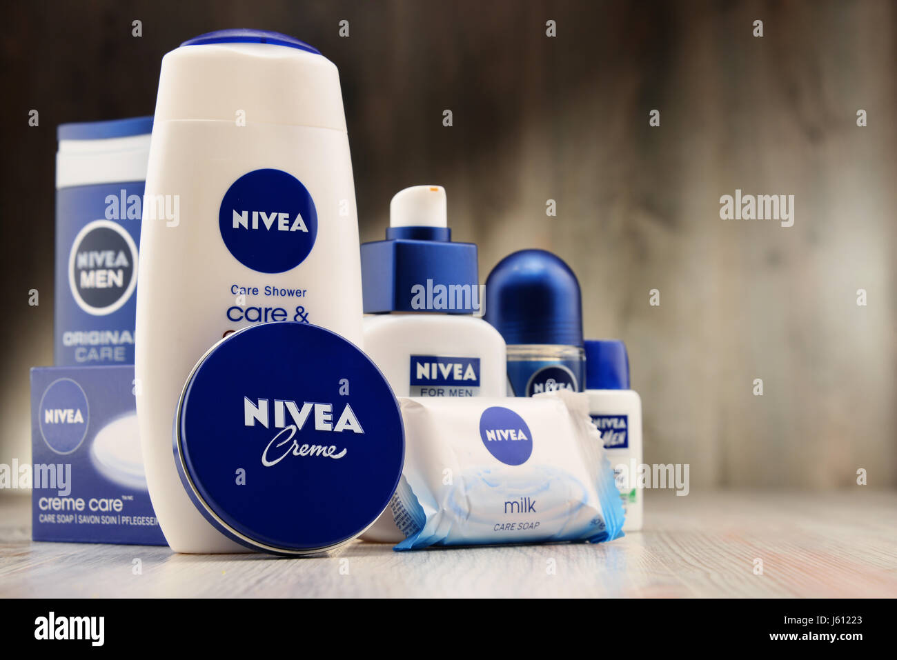POZNAN, POLAND - DEC 2, 2016: Nivea is a German personal care brand that specializes in skin- and body-care products. - Stock Image