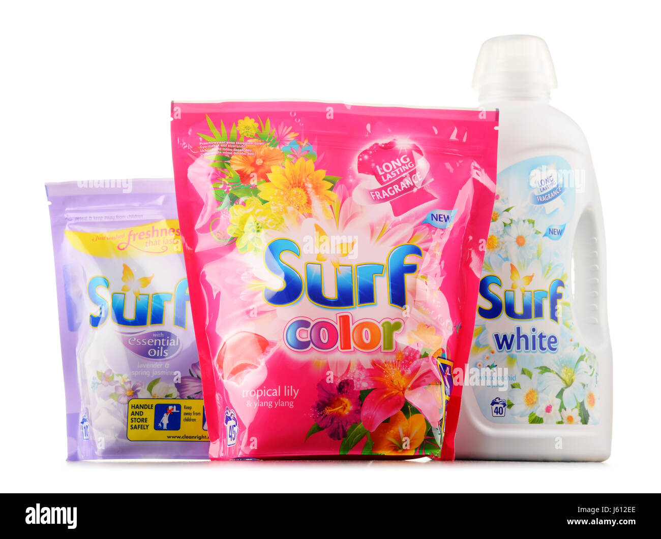 POZNAN, POLAND - JAN 19, 2017: Surf is a brand of laundry detergent made by Unilever. The product was introduced - Stock Image