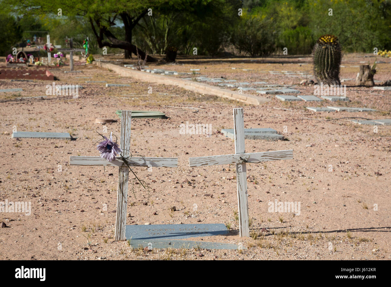Tucson, Arizona - The Pima County Cemetery, where the indigent, the homeless, and unidentified have been buried, - Stock Image