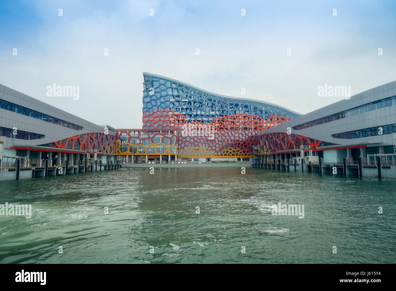SHENZHEN, CHINA- MAY 11, 2017: Very impresive building of Terminal ferry, where TurboJet provides services between - Stock Image