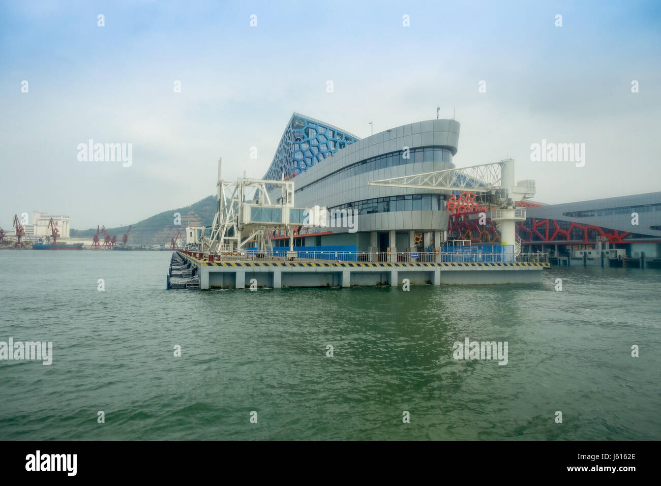 SHENZHEN, CHINA- MAY 11, 2017: Beautiful building of Terminal ferry, where TurboJet provides services between Hong - Stock Image