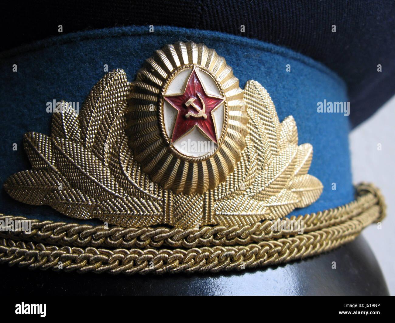 detail uniform cap russian emblem detail uniform cap russian emblem uniformteil - Stock Image