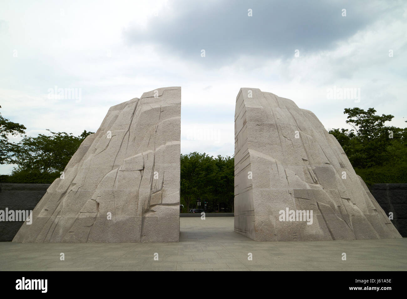 mountain of despair granite rock at Martin Luther King Jnr memorial Washington DC USA - Stock Image