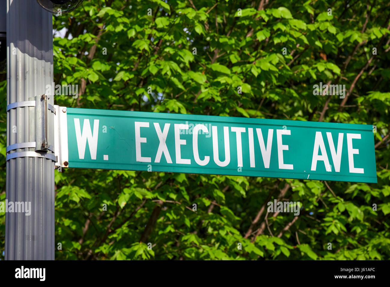 streetsign for west executive avenue at the whitehouse Washington DC USA - Stock Image