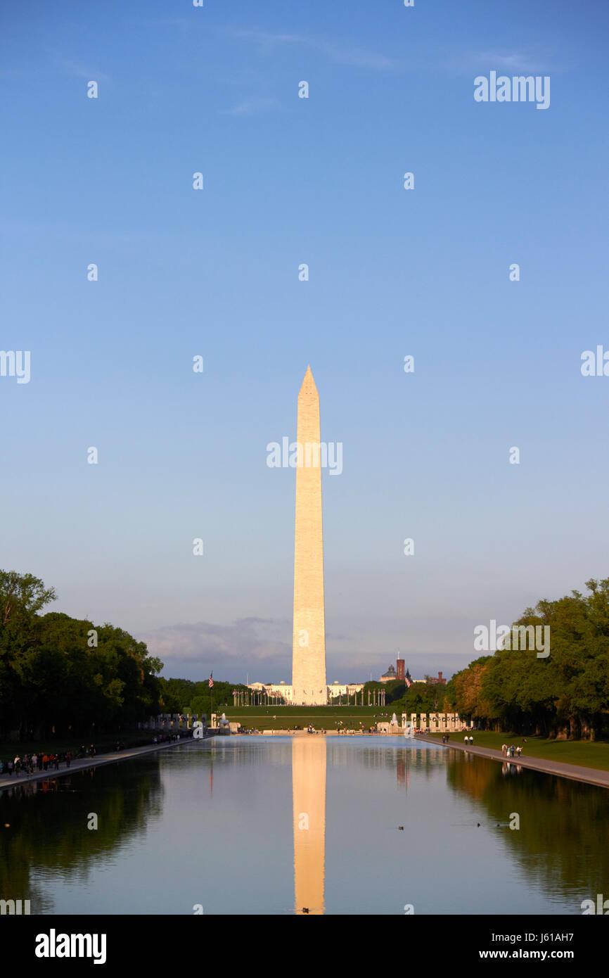 the washington monument and reflection in the reflecting pool national mall Washington DC USA - Stock Image