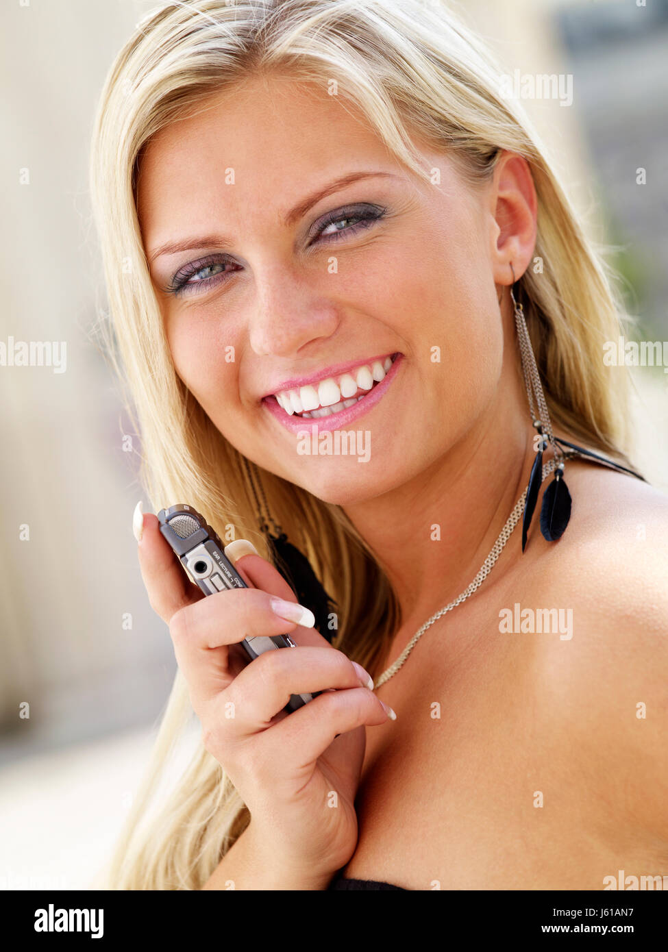 woman laugh laughs laughing twit giggle smile smiling laughter laughingly Stock Photo