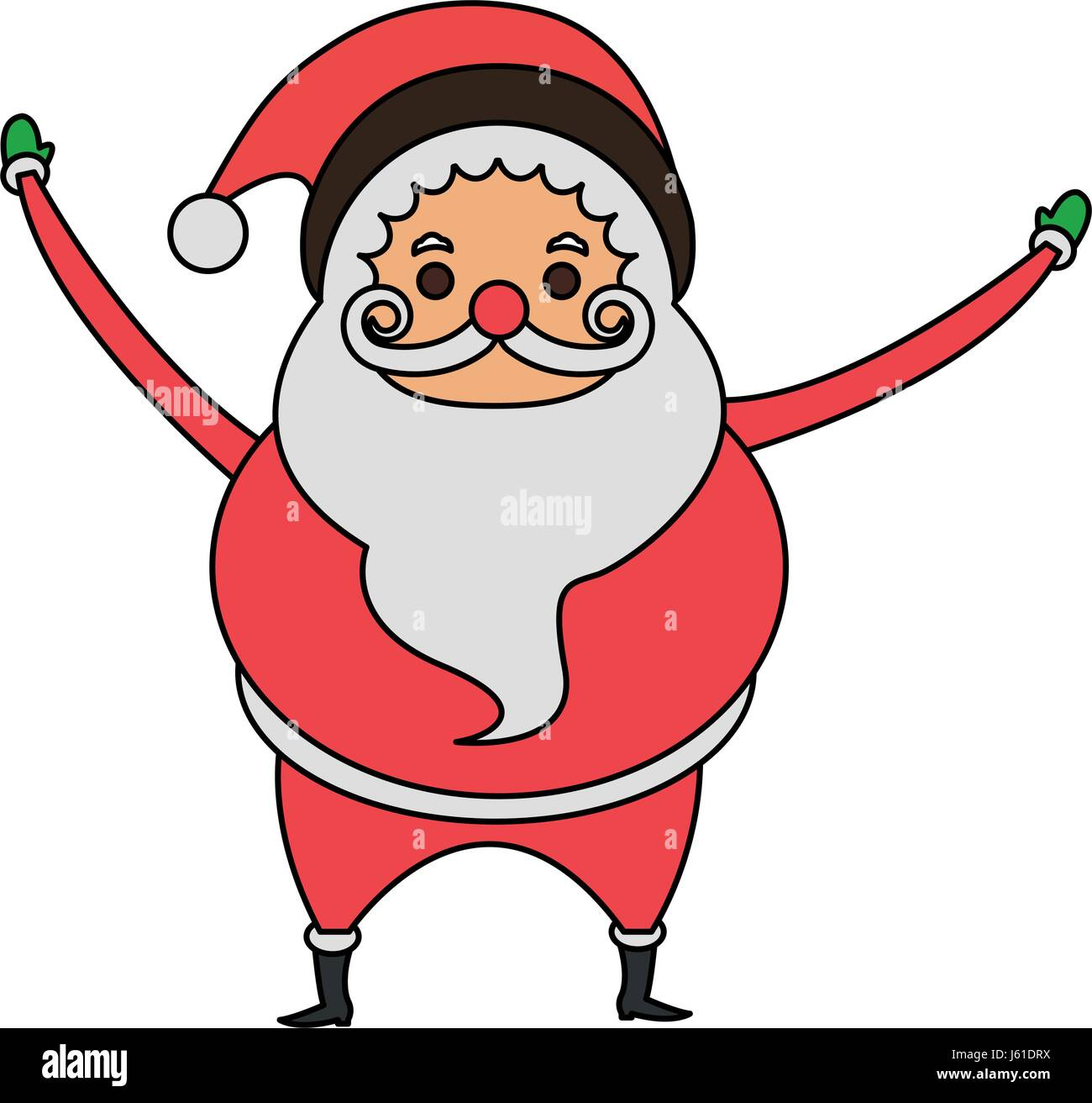 color image cartoon full body fat santa claus Stock Vector Art ...