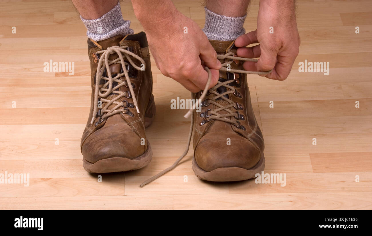 tie shoes Stock Photo