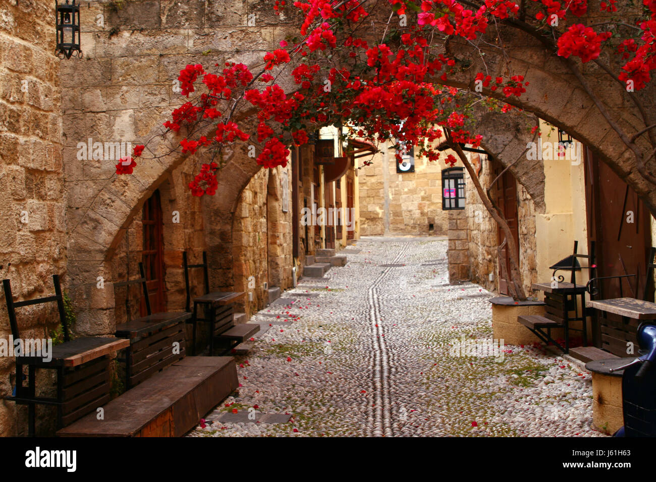 in the old town of rhodes - Stock Image