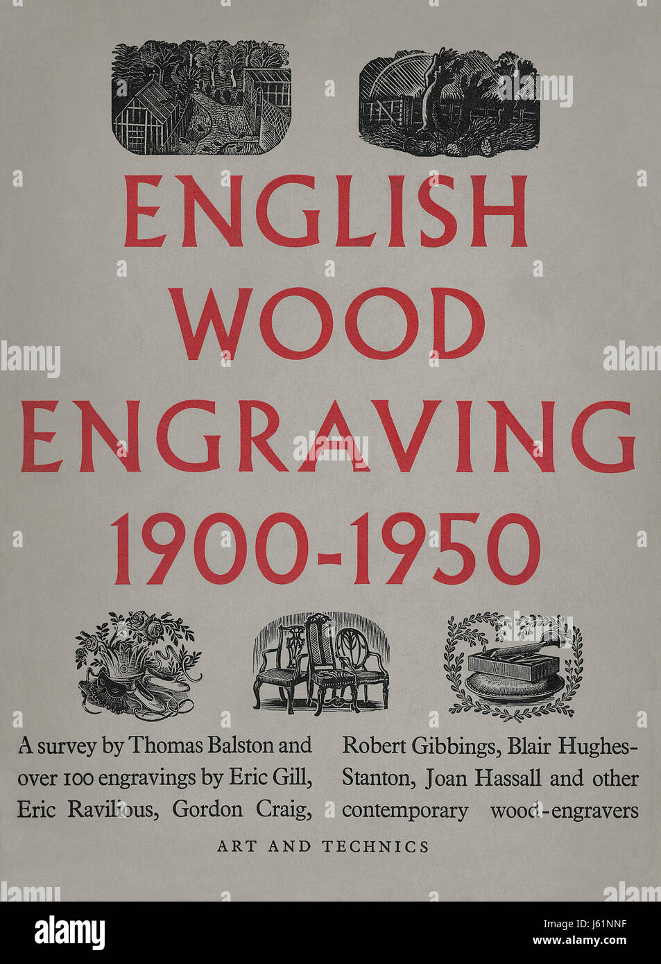Front cover of the book 'English Wood Engraving 1900-1950' by Thomas Balston. Published by Art and Technics - Stock Image