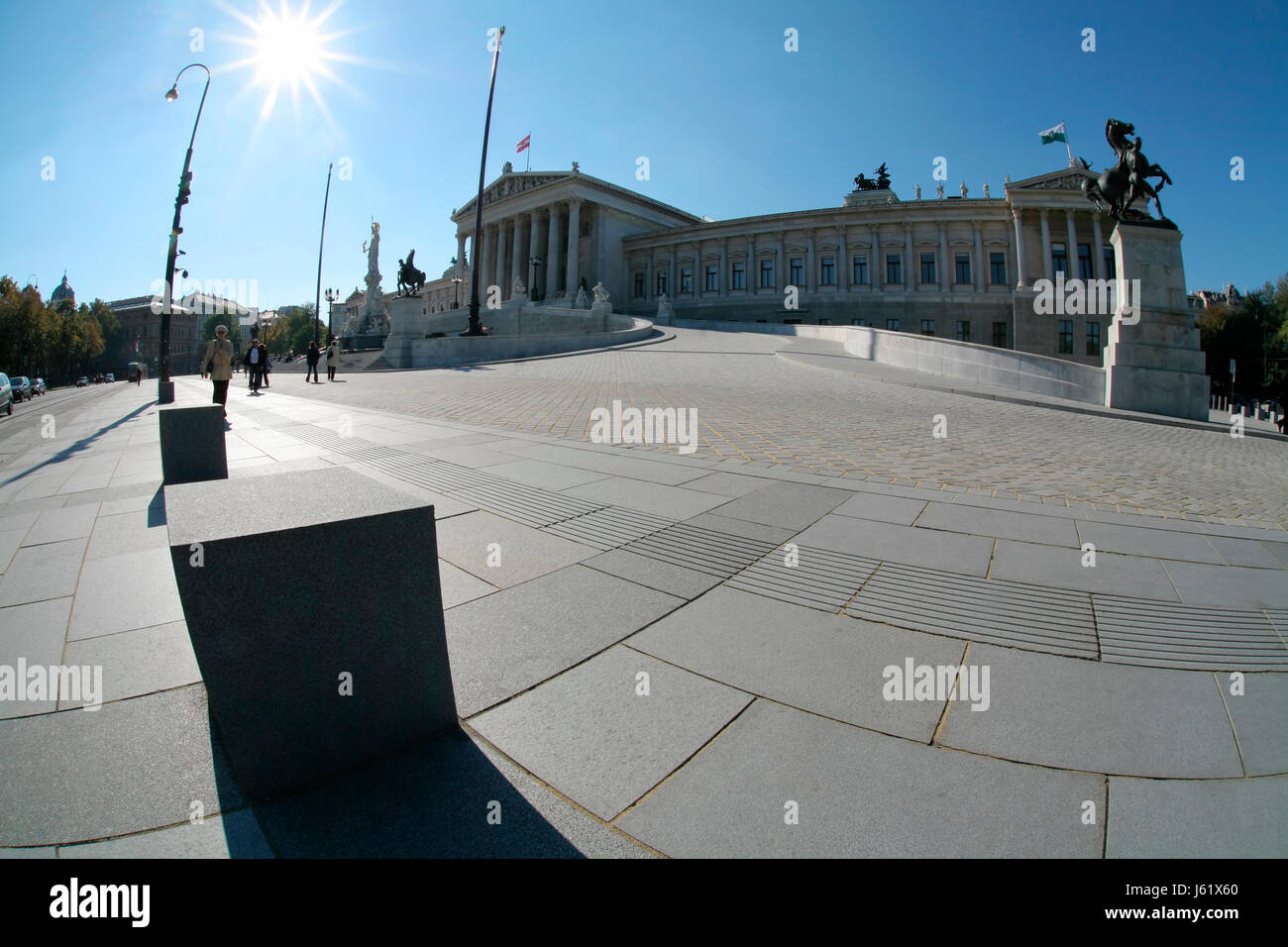 vienna parliament politics government athena historical vienna counter-light - Stock Image