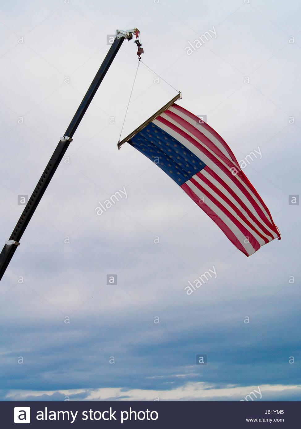 flag hang banner sign streamer firmament sky pictogram symbol pictograph trade - Stock Image