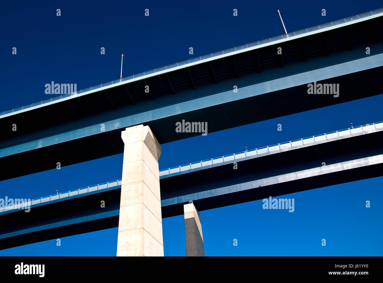 blue traffic transportation bridge blue industry traffic transportation bridge Stock Photo