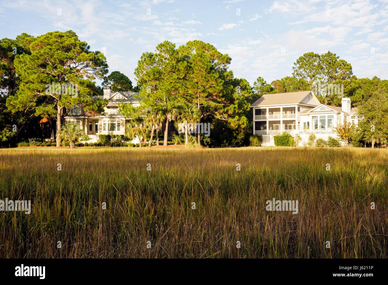 South Carolina Hilton Head Island Sea Pines Plantation South Beach resort single-family house home Low Country Architecture - Stock Image