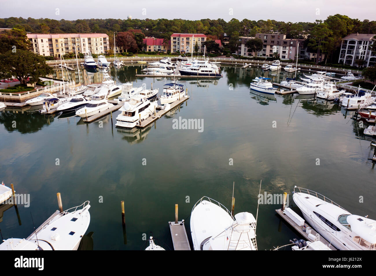South Carolina Hilton Head Island Sea Pines Plantation South Beach Harbour Town view from lighthouse resort waterfront - Stock Image