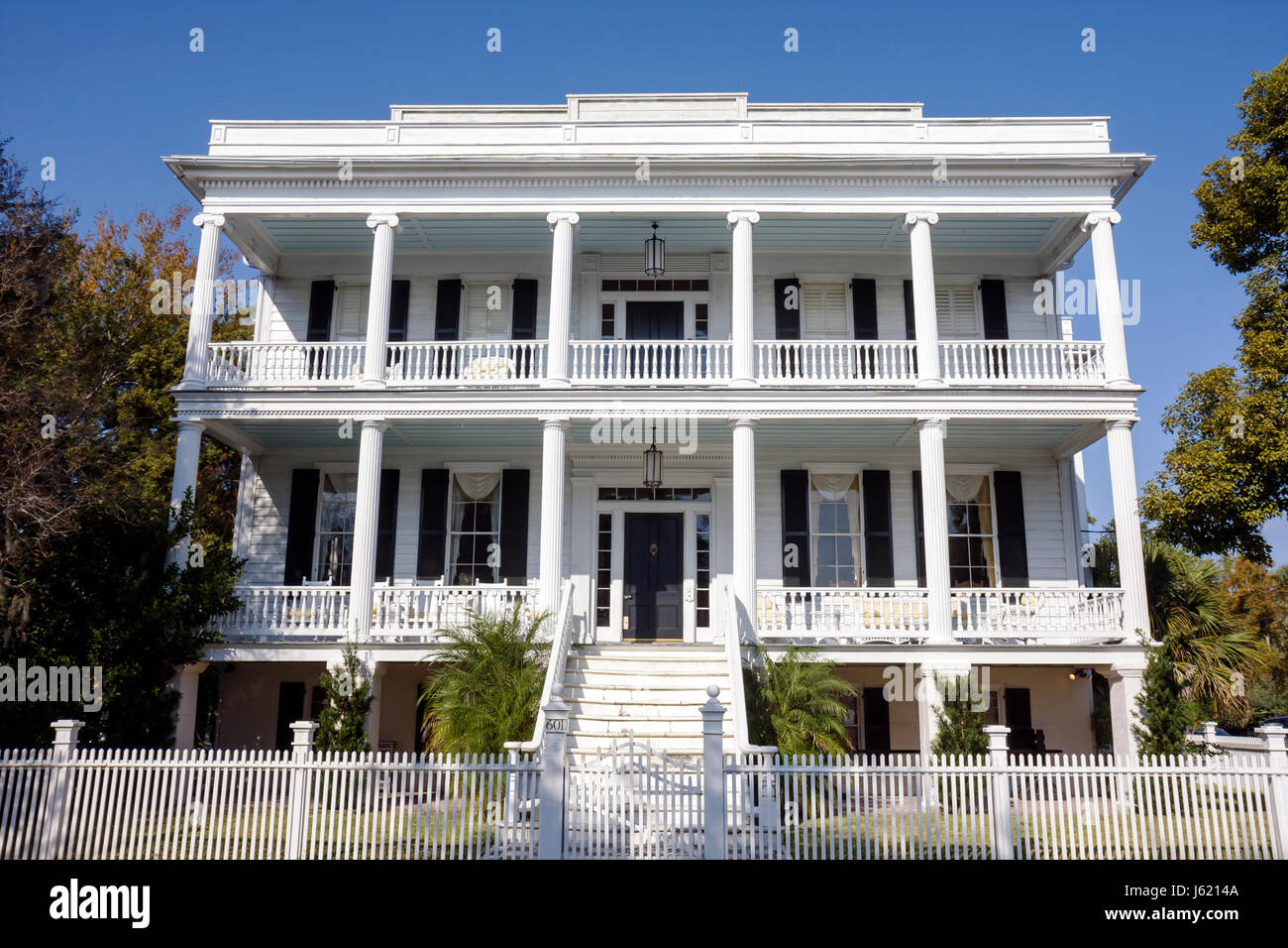 South Carolina Beaufort Lowcountry Southern National Historic Landmark District Bay Street Lewis Reeve Sams House - Stock Image