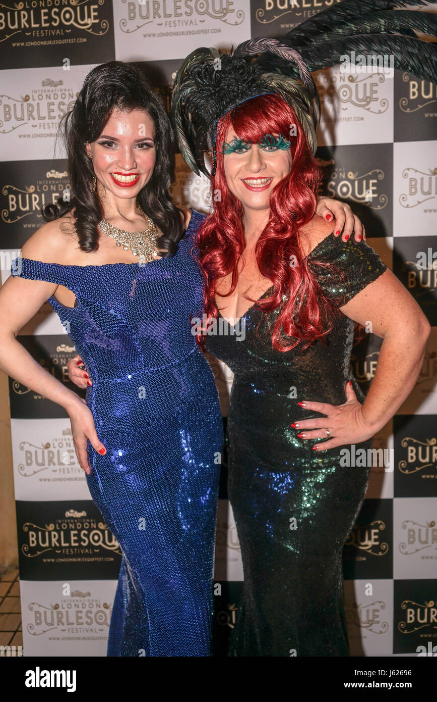London, UK. 18th May, 2017. Prefomer Miss Sugar rush and Cherry Bomb at the London Burlesque Festival the VIP Opening - Stock Image