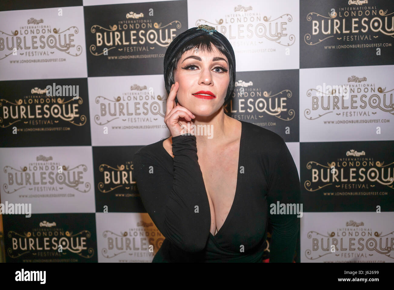 London, UK. 18th May, 2017. Prefomer Whisky Falls at the London Burlesque Festival the VIP Opening Gala at Conway - Stock Image