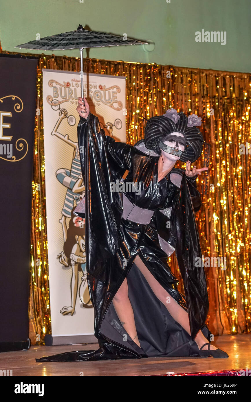 London, UK. 18th May, 2017. Black Bijou, Italy performs at the London Burlesque Festival the VIP Opening Gala at - Stock Image
