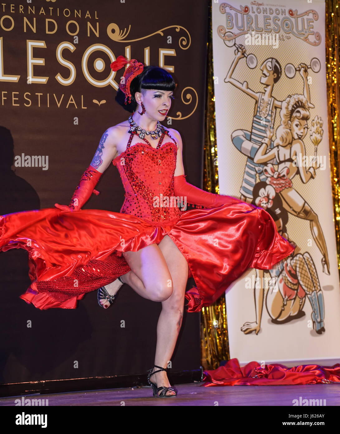 London, UK. 18th May, 2017. Louise L'Amour, Portugal performs at the London Burlesque Festival the VIP Opening - Stock Image