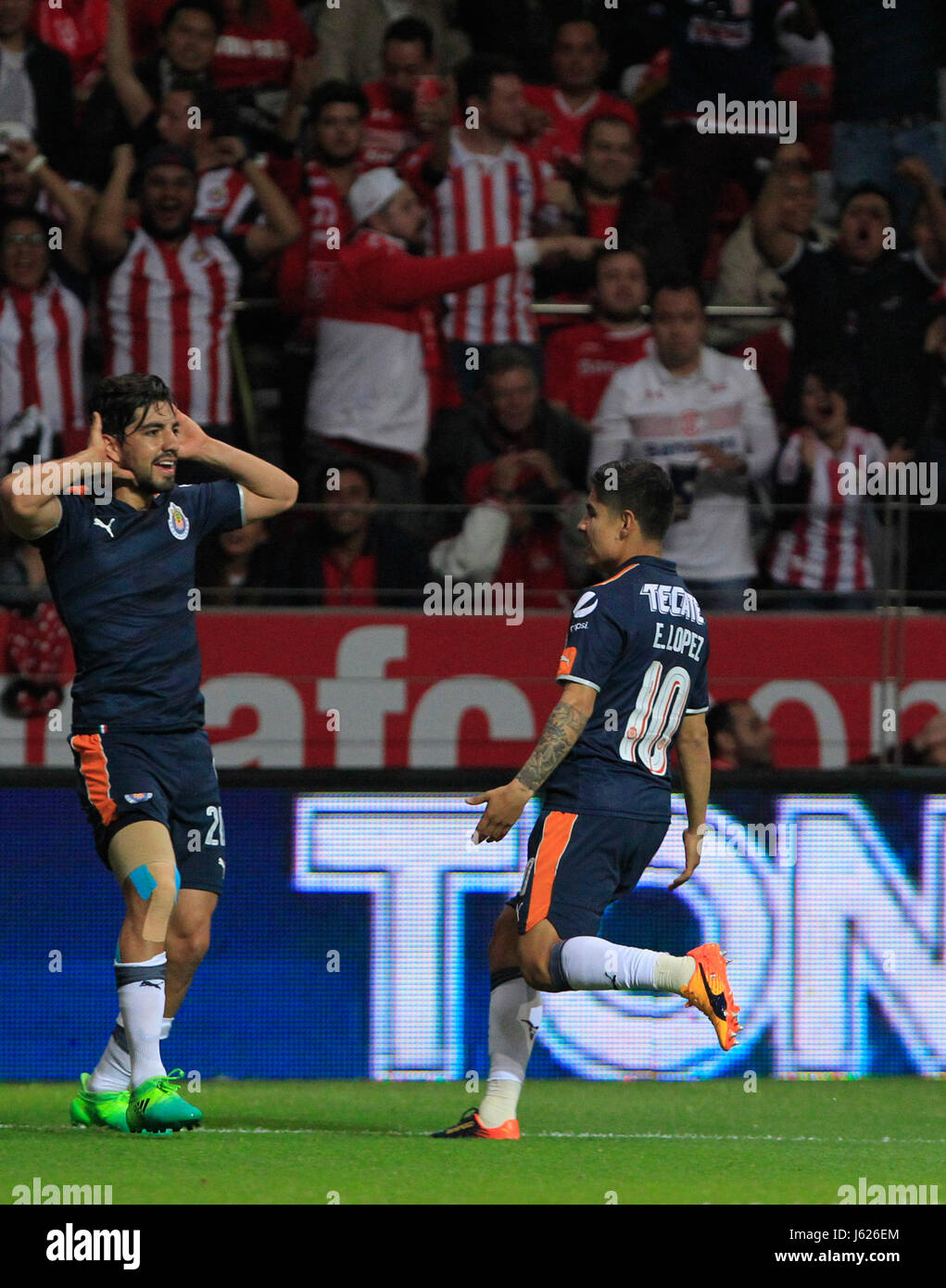 e6c3d405e95 Chivas de Guadalajara s Rodolfo Pizarro (L) and Eduardo Lopez celebrate a  goal against Toluca during their match for the semifinal of the Clausura ...