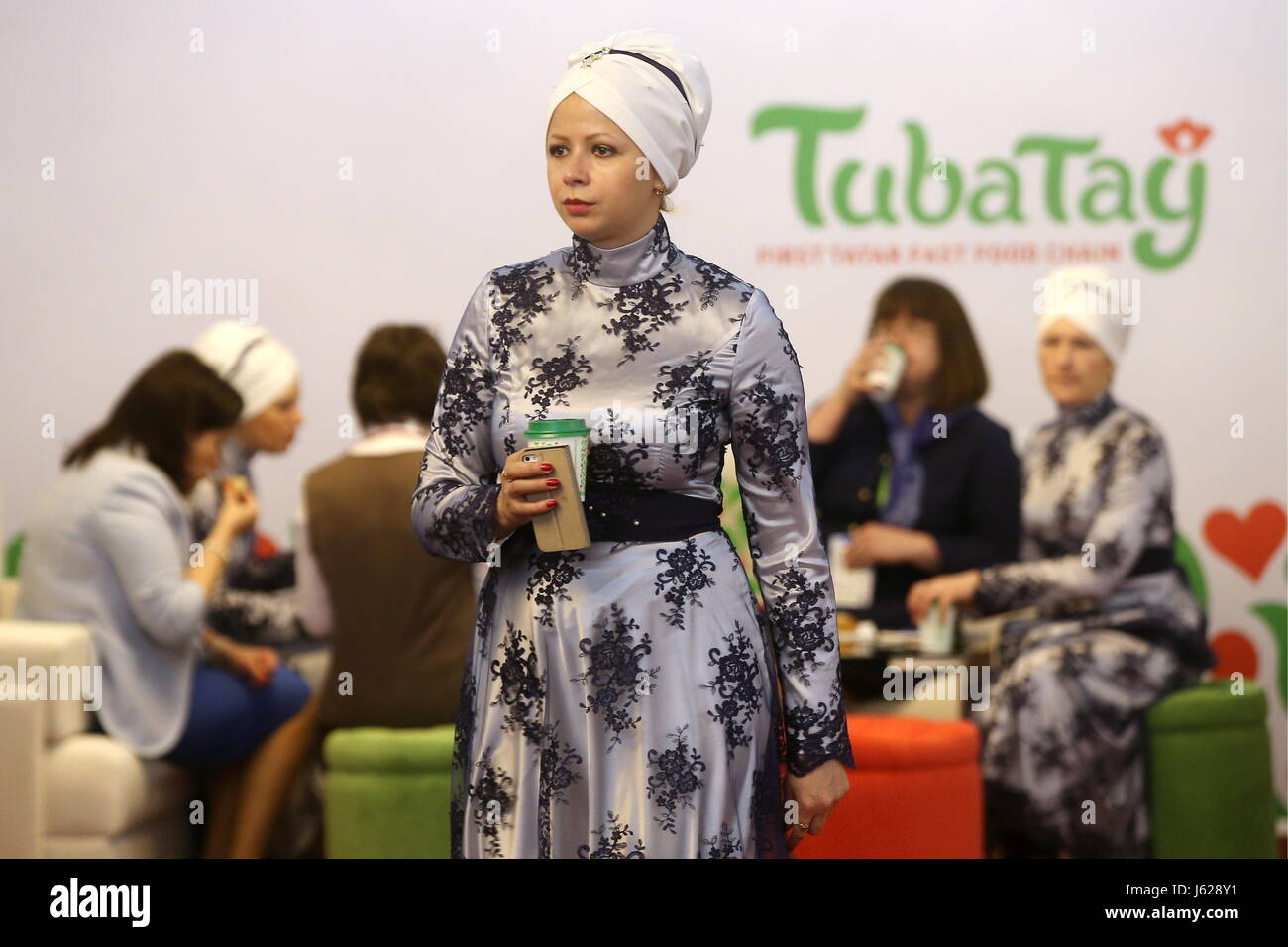 """Kazan, Russia. 19th May, 2017. A participant in the 9th International Economic Summit titled """"Russia — Islamic World: - Stock Image"""