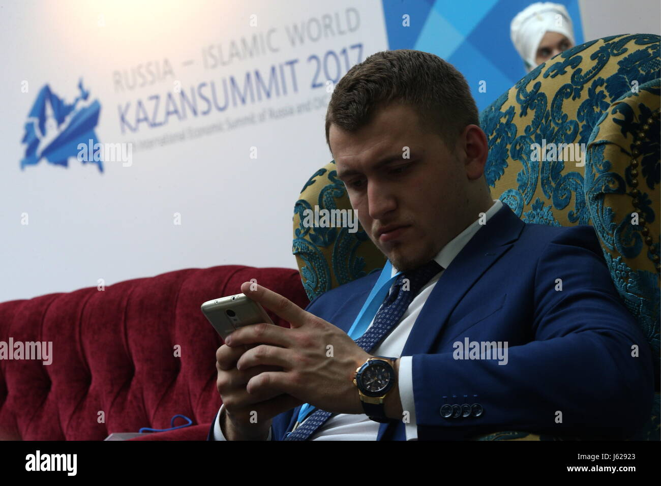 """Kazan, Russia. 18th May, 2017. A participant in the 9th International Economic Summit titled """"Russia — Islamic World: - Stock Image"""
