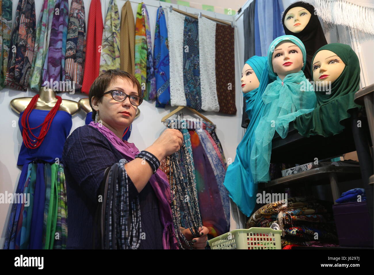 Kazan, Russia. 18th May, 2017. Hijabs on display at the Russia Halal Expo exhibition as part of the 9th International - Stock Image