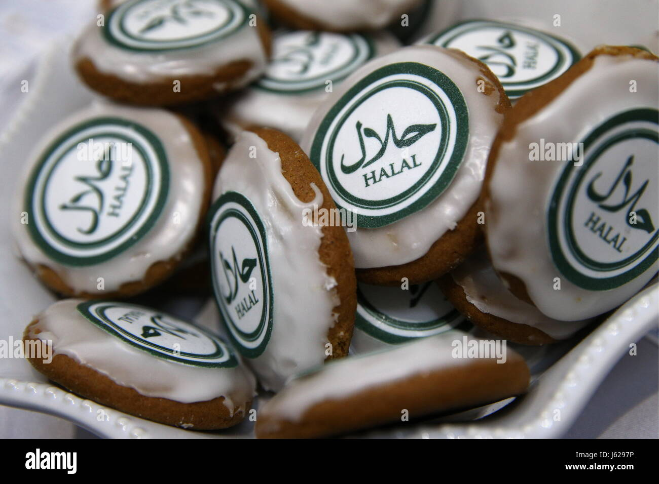Kazan, Russia. 18th May, 2017. Biscuits seen at the Russia Halal Expo exhibition as part of the 9th International - Stock Image